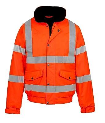 5738e56e80ae4 Mens High Visibility Jacket Hi Vis Bomber Jacket Padded Winter Warm Jackets  Concealed Hood All Sizes S TO 6XL  Amazon.co.uk  Clothing