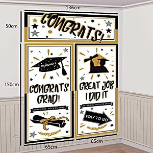 2018 Graduation Supplies Backdrop Party Decorations - Grad Congrats Photo Booth Banner Wall Party Decor