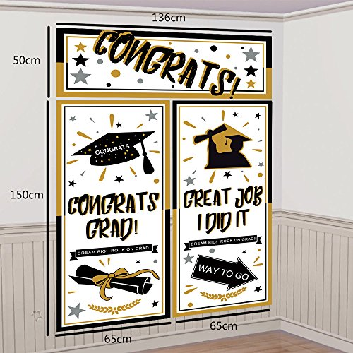 Graduation Backdrop Banner Party Decorations Supplies 2018 - Grad Congrats Photo Booth Wall Party Decor by Moon Boat