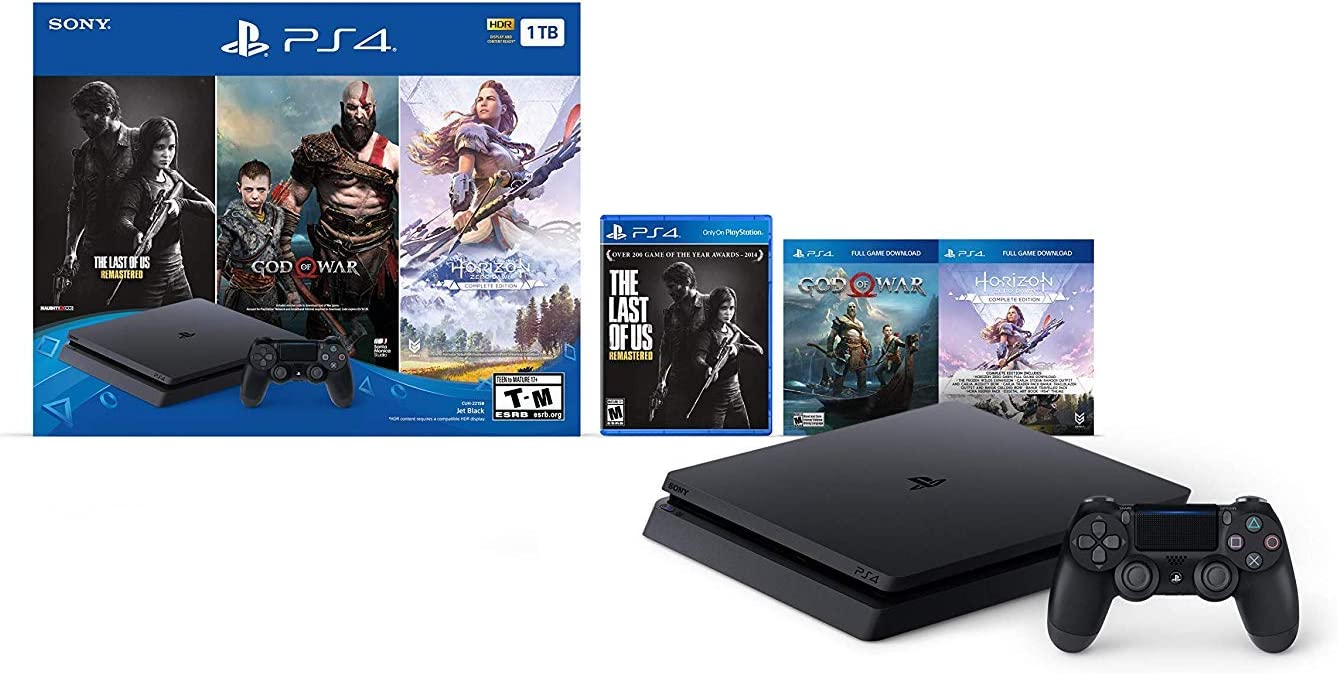 Newest Sony Playstation 4 PS4 1TB HDD Gaming Console Bundle with Three Games: The Last of Us, God of War,...