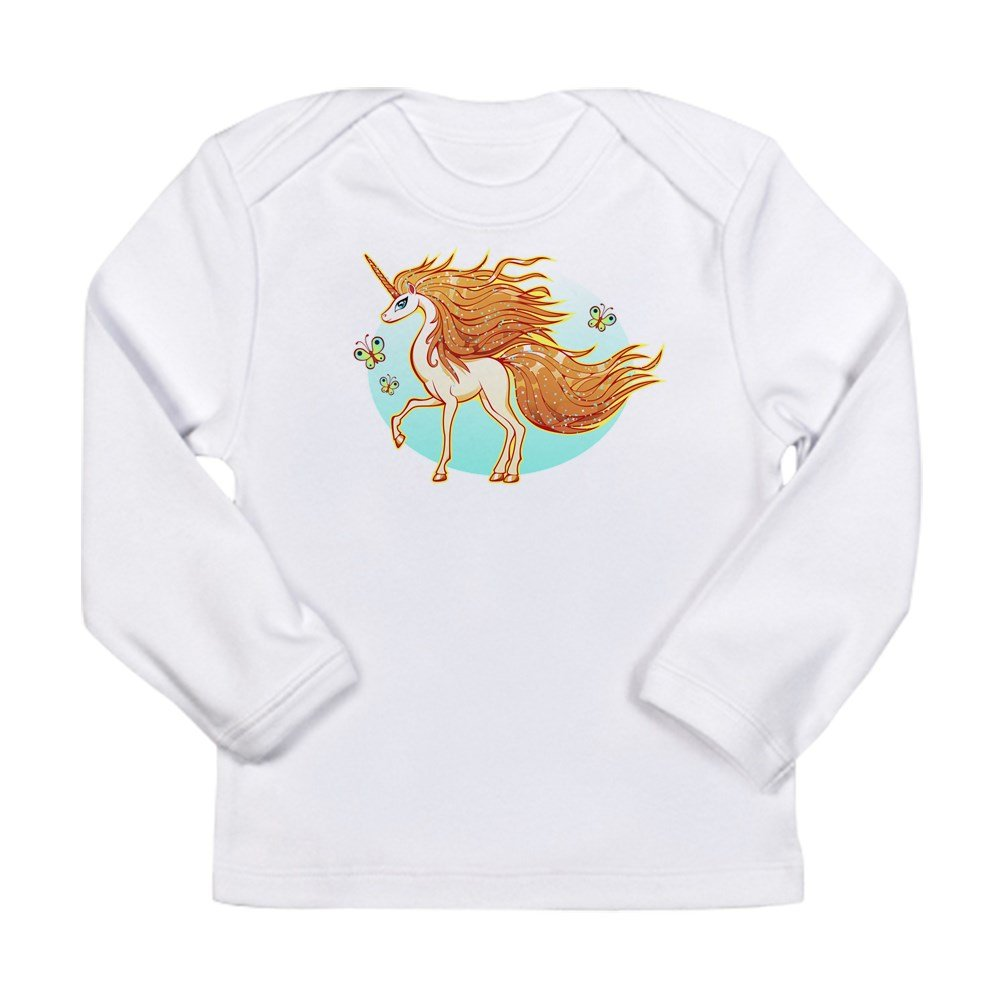 Truly Teague Long Sleeve Infant T-Shirt Golden Sparkle Unicorn With Butterflies Cloud White 6 To 12 Months