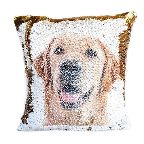 Pup Pillow: Print Your Pup's Photo on a Pillow (Gold & White) [並行輸入品] B07RDWFKJ4