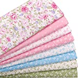 Floral and Bowknot Print Cotton Fat Quarters Quilting Fabric Bundle for Craft Sewing,8 Pcs 18'' x 22''(2 Yards Total),Pink Blue Green