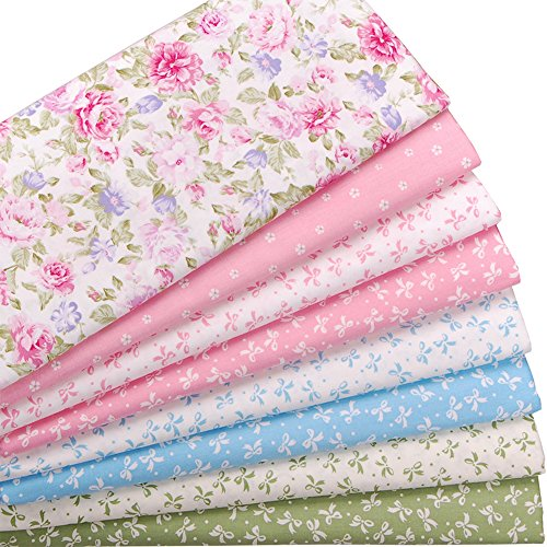 Floral and Bowknot Print Cotton Fat Quarters Quilting Fabric Bundle for Craft Sewing,8 Pcs 18'' x 22''(2 Yards Total),Pink Blue Green by Ailike