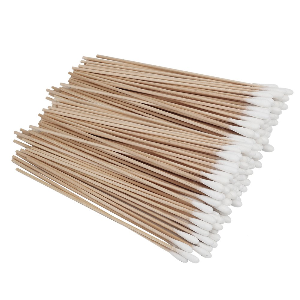 Shintop Pack of 200 Cotton Swab, Long Wood Handle Cotton Tip Buds for Makeup, Cleaning, Polishing Jewelry, Arts and Crafts