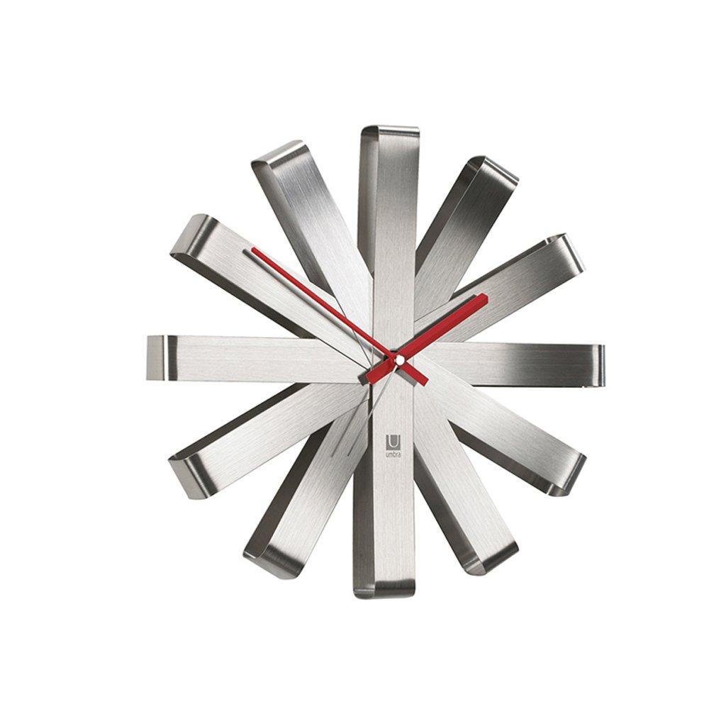 ステンレス鋼のリボンの壁時計/装飾クリエイティブパーソナリティ円形の壁時計 (色 : シルバー しるば゜, サイズ さいず : 30センチメートル) B07F1L1YN2 30センチメートル|シルバー しるば゜ シルバー しるば゜ 30センチメートル
