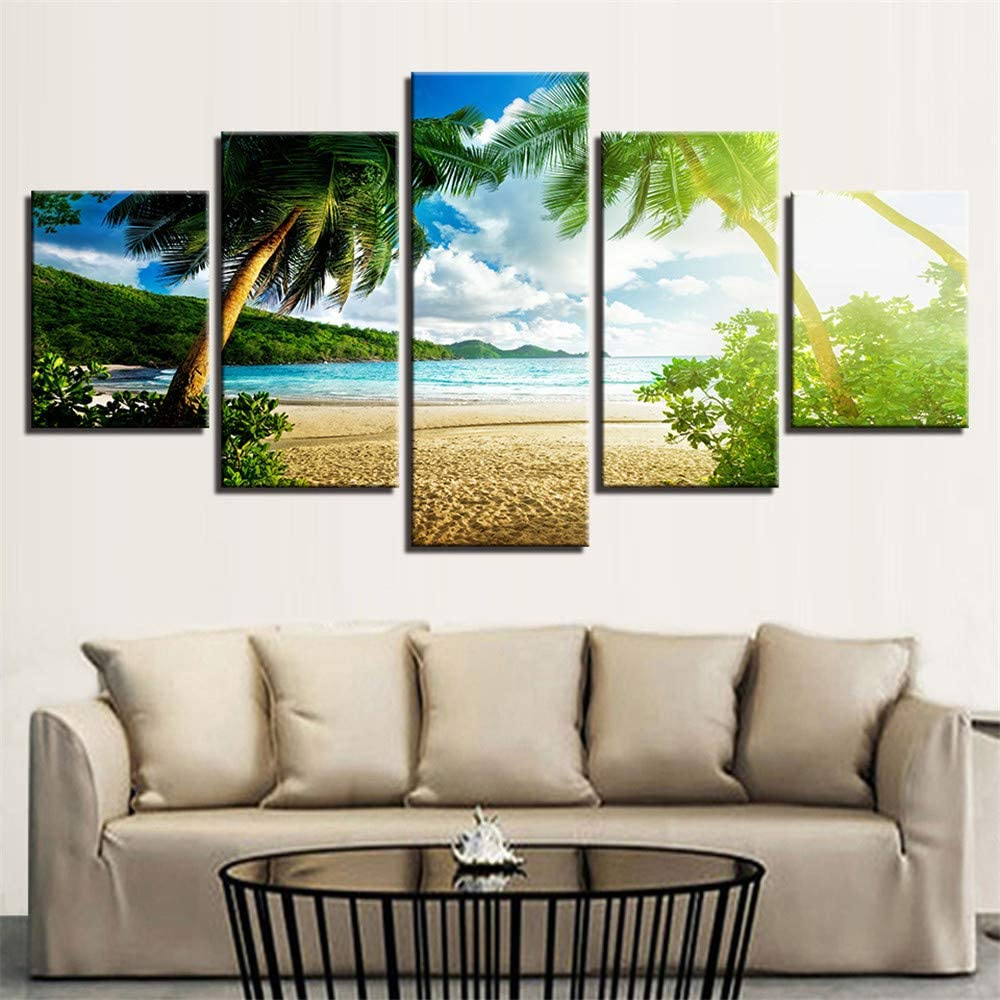 Whian 5Pcs/Set Modern Painting Canvas Wall Canvas Art Prints Posters Decor Bedroom Home Decorations Seaside Coco 80/60/40x30CM Frameless