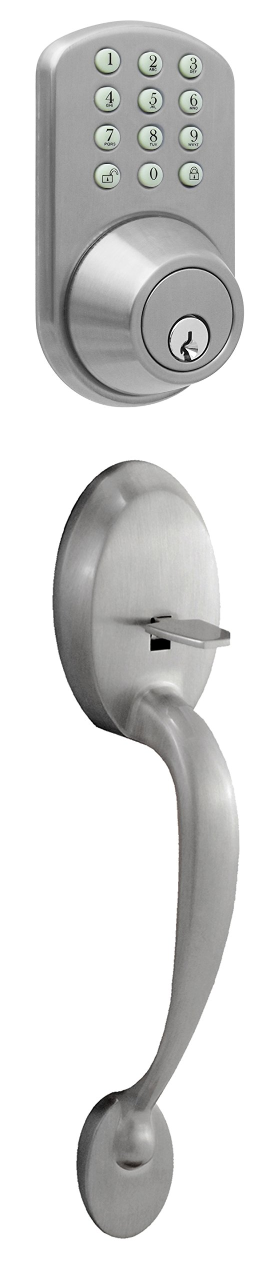 MiLocks BTF-02SN Digital Deadbolt Door Lock and Passage Handle Set Combo with Keyless Entry via Keypad Code for Exterior Doors, Satin Nickel