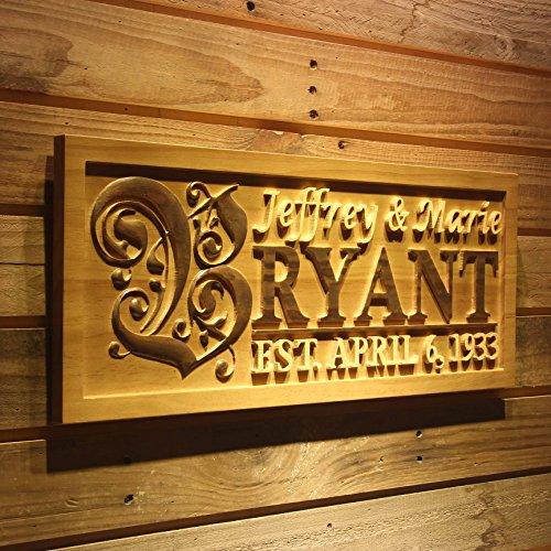 """wpa0246 Personalized Custom Wedding Anniversary Family Sign Surname Last First Name Rustic Home Décor Housewarming Gift 5 Year wood Anniversary Gift Wooden Signs - Standard 23"""" x 9.25"""""""