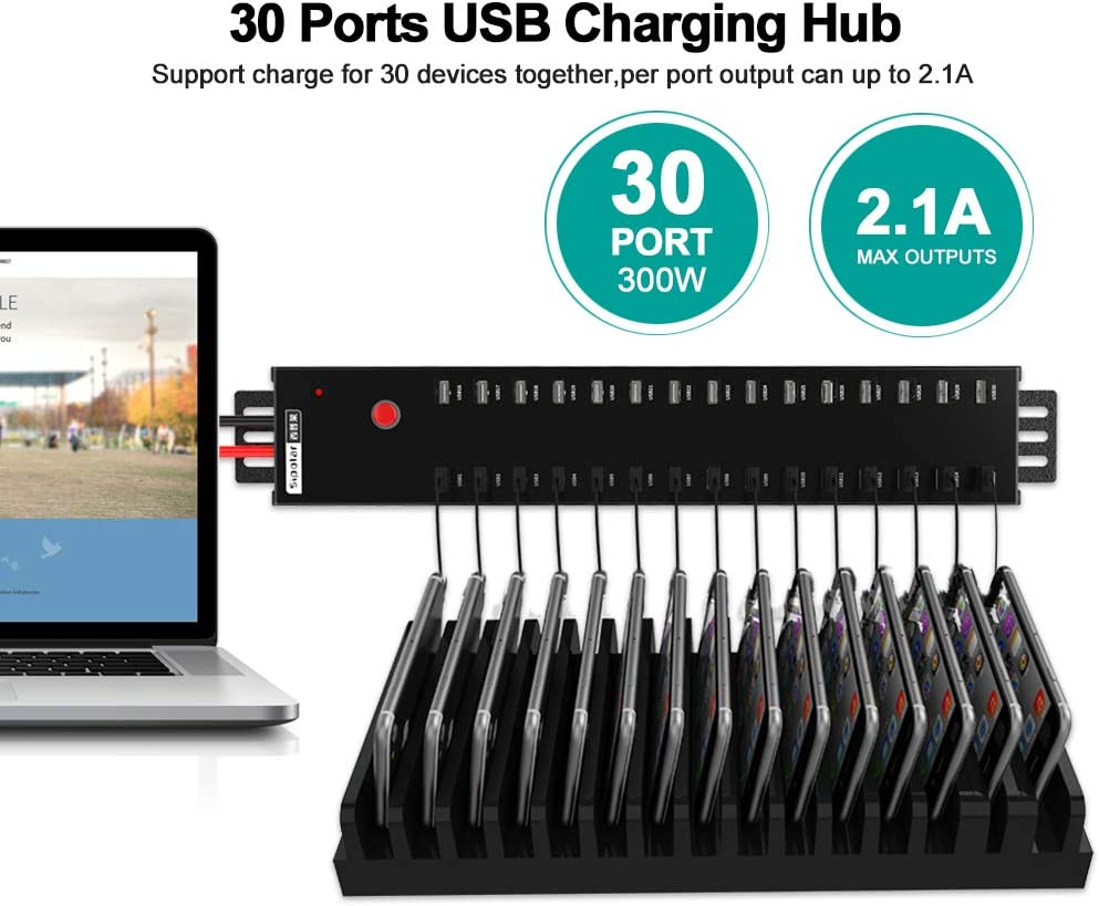 Sipolar a-812 USB Charger 2A Charging for 30 iPhone,IPad,Tablets USB Data Hub,USB 2.0 HUB 30 Ports USB Charging Station with UL Built in 300Watt Power Supply