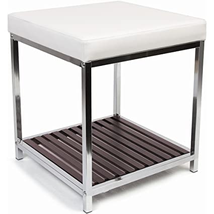 Magnificent Urban Modern Vanity Bench Chrome 16 25H X 14W X 14D Pdpeps Interior Chair Design Pdpepsorg