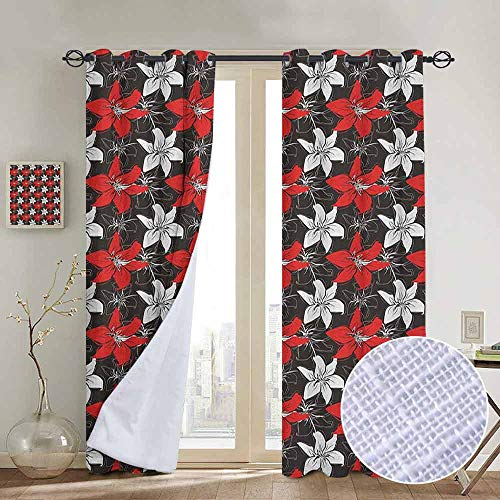 Blackout Curtains Red and Black,Artistic Bedding Plants Flourishing Garden Pattern Retro Nature, Black White Vermilion,Thermal Insulated Panels Home Décor Window Draperies for Bedroom a84