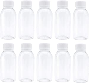 TrendBox Pack of 10 - Clear Empty PET Mini Storage 100ml/100g/100cc Bottles Hard Plastic Durable Turn Screw Cover Cap Round Filling Liquid Rhinestones Water Container