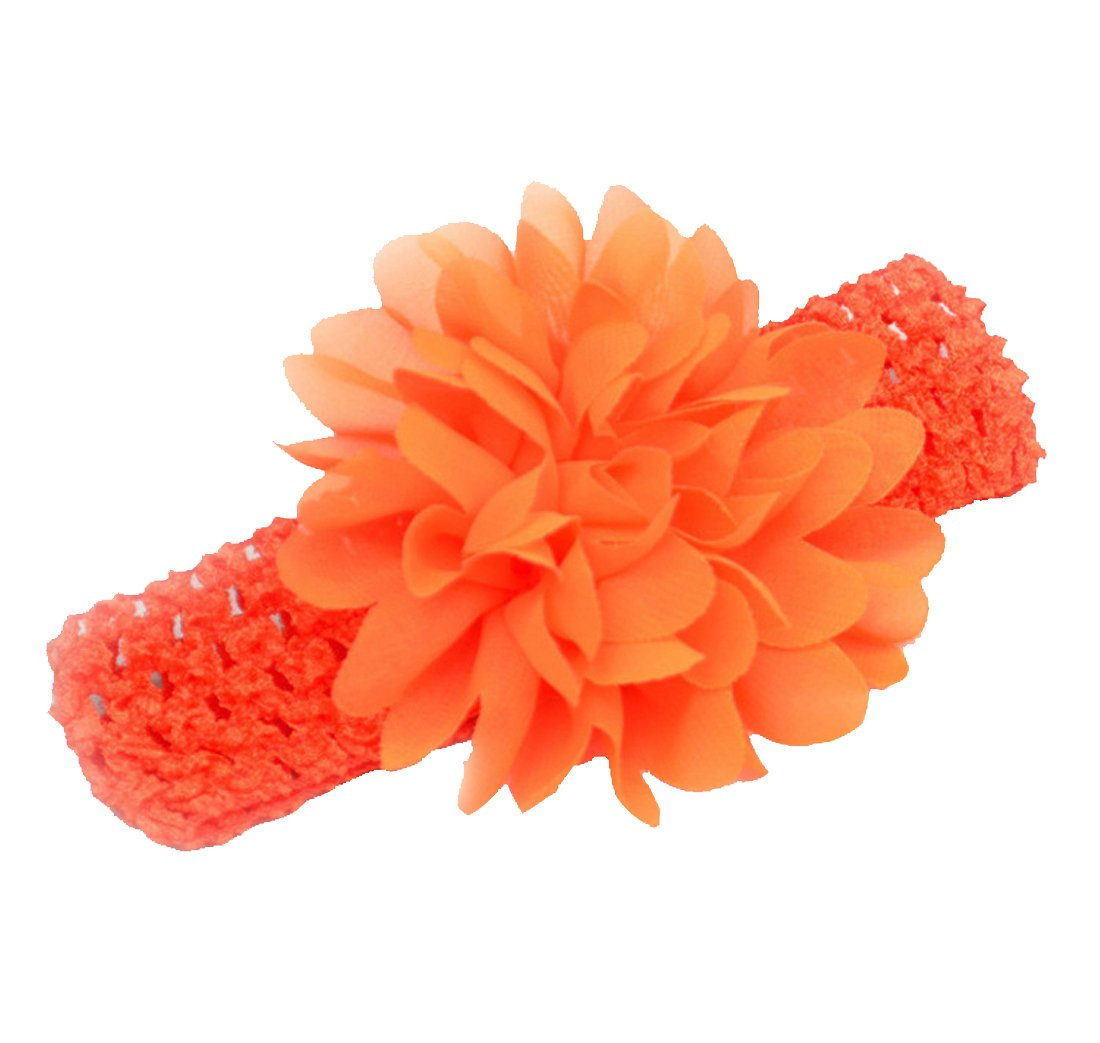 ORANGE FLOWER ELASTIC HEADWRAP HEADBAND