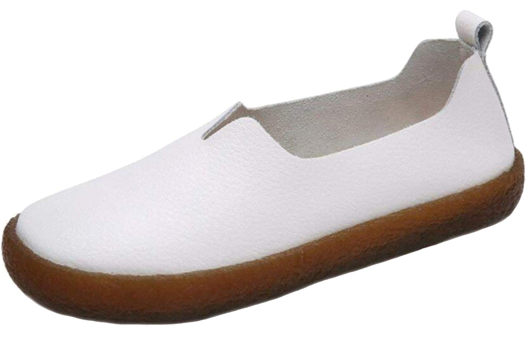 PPXID Women's Leather Slip-on Loafers Flat Mocassins Walking Shoes-White 10 US Size