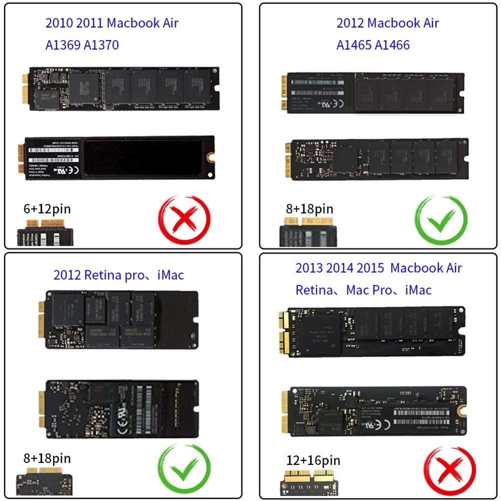 JUNERAIN - Tarjeta Adaptador SSD para MacBook Air/Pro Retina 2012 ...
