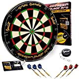 Ignat Games Professional Dartboard Kit - Bristle/Sisal Tournament Dart Board with Complete Staple-Free Blade Wire Spider + Steel Tip Darts + Darts Measuring Tape + Darts Guide (Assassin Blade)