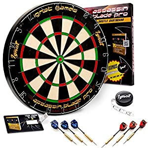 Dartboard and accessories on white background