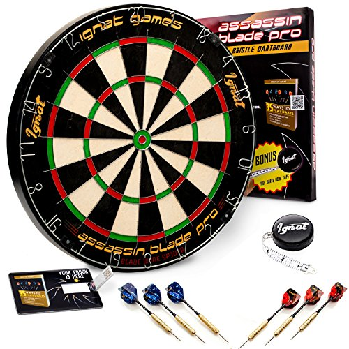 IgnatGames Professional Dart Board Kit - Bristle/Sisal Tournament Dartboard with Complete Staple-Free Ultra Thin Wire Spider + 6 Steel Tip Darts + Darts Measuring Tape + Darts Guide