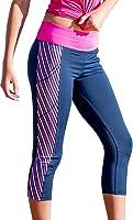 Devon Maryn Women's Stripe Pocket Yoga Capris