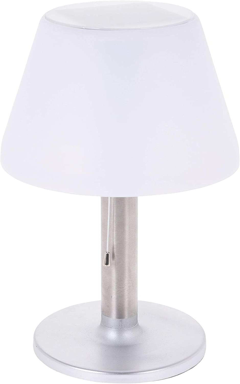 Outdoor Solarlampe Gartenlampe Tisch Leuchte Au/ßen Schreibtischlampe 10 LEDs LED Solar Tischlampe silber wei/ß 28x20 cm