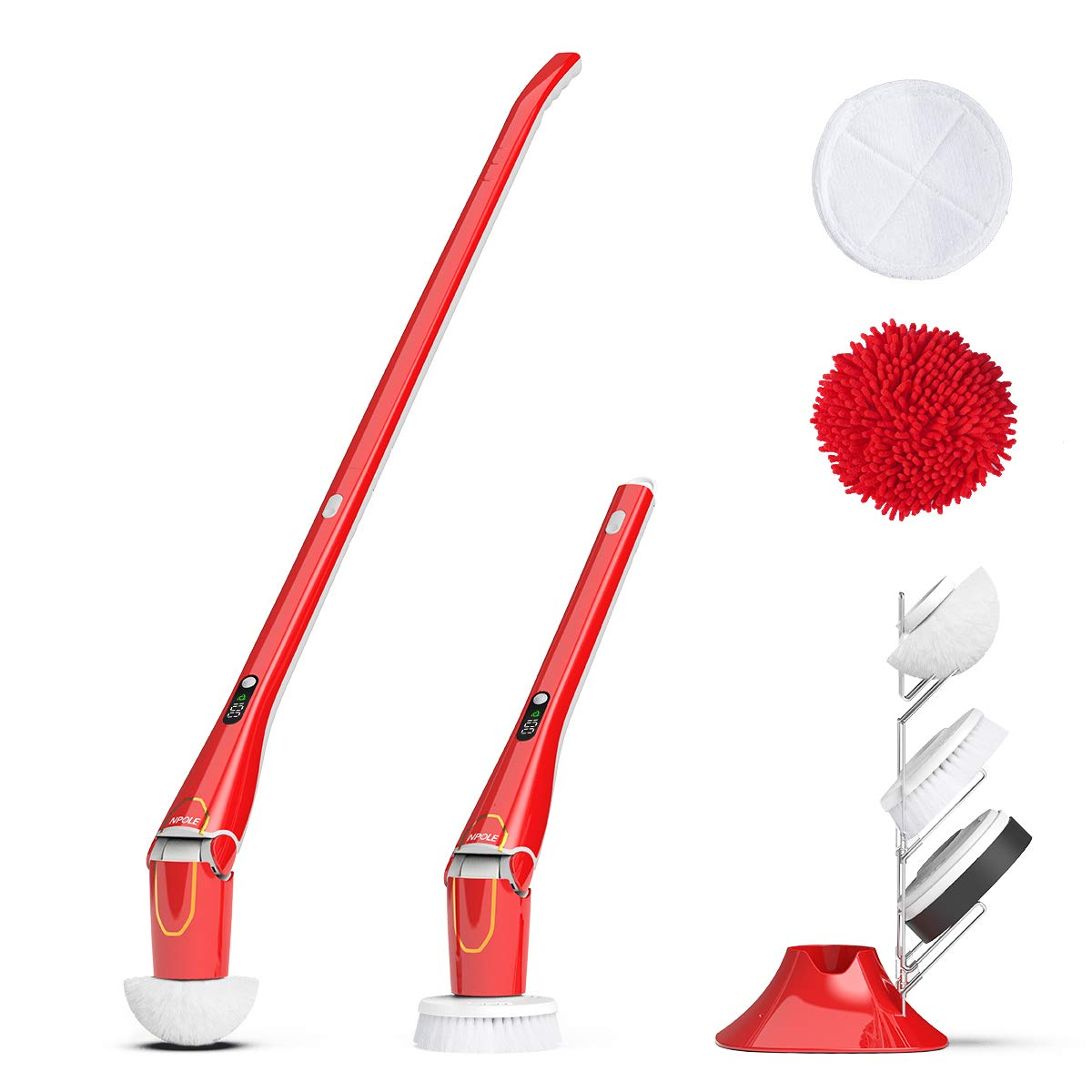 NPOLE Electric Spin Scrubber, LED Power Display Bathroom Cleaning Brush With5 Cleaning Scrubber Heads 1 Extension Arm and Storage Bracket Be Suitable Car,Tile,Carpet, Wall, Red
