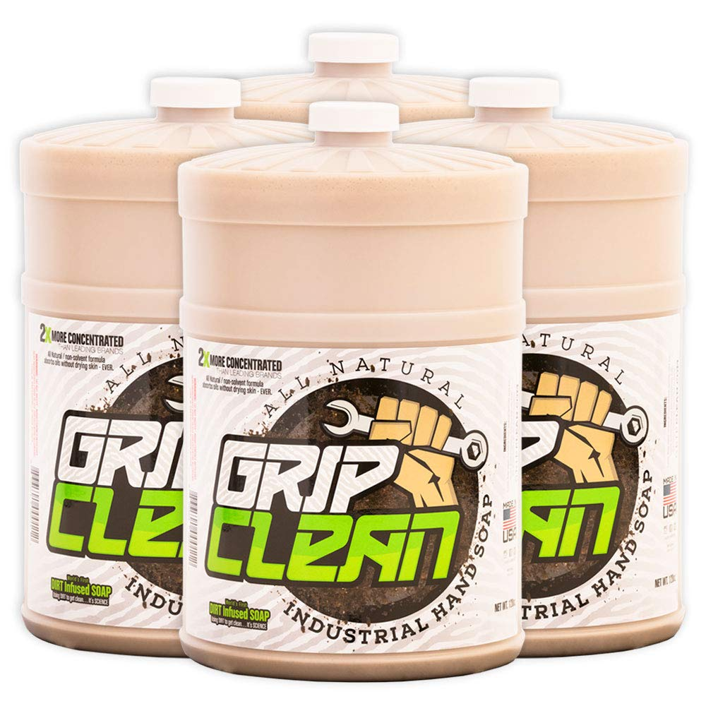 Grip Clean | Heavy Duty Hand Cleaner - Dirt Infused & All Natural Industrial Strength Soap (1 gal Refill jug) x4