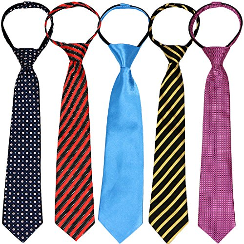 kilofly Pre-tied Adjustable Zipper Tie Kids Boys Baby Necktie Value Set of 5 ()
