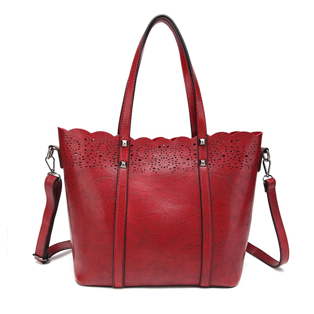 Chilie Retro Pure Color Women Girl Handbag PU Leather Zipper Closure Portable Shoulder Bags Tote Bags