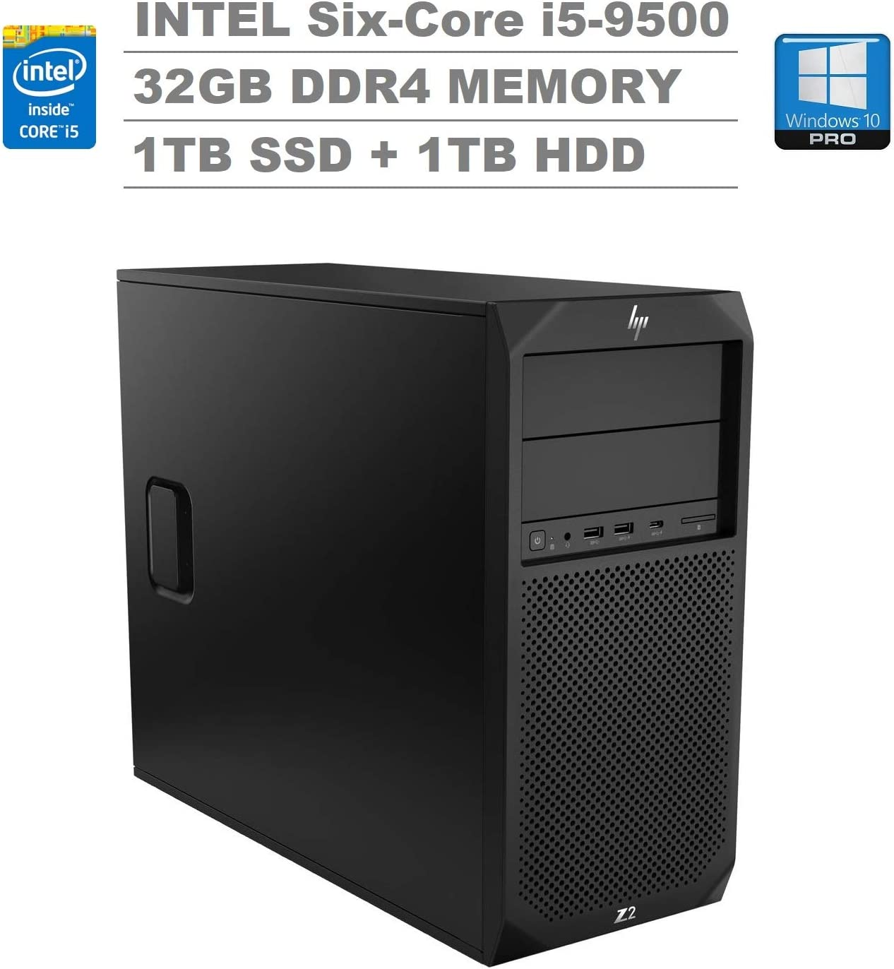 HP Z2 G4 Tower Workstation (Intel Six-Core i5-9500, 32GB DDR4 RAM, 1TB SSD + 1TB HDD) Type-C, 2 x Display Port, RJ-45, Built-in Speaker, DVD-RW, Keyboard and Mouse, Windows 10 Pro 64-bit