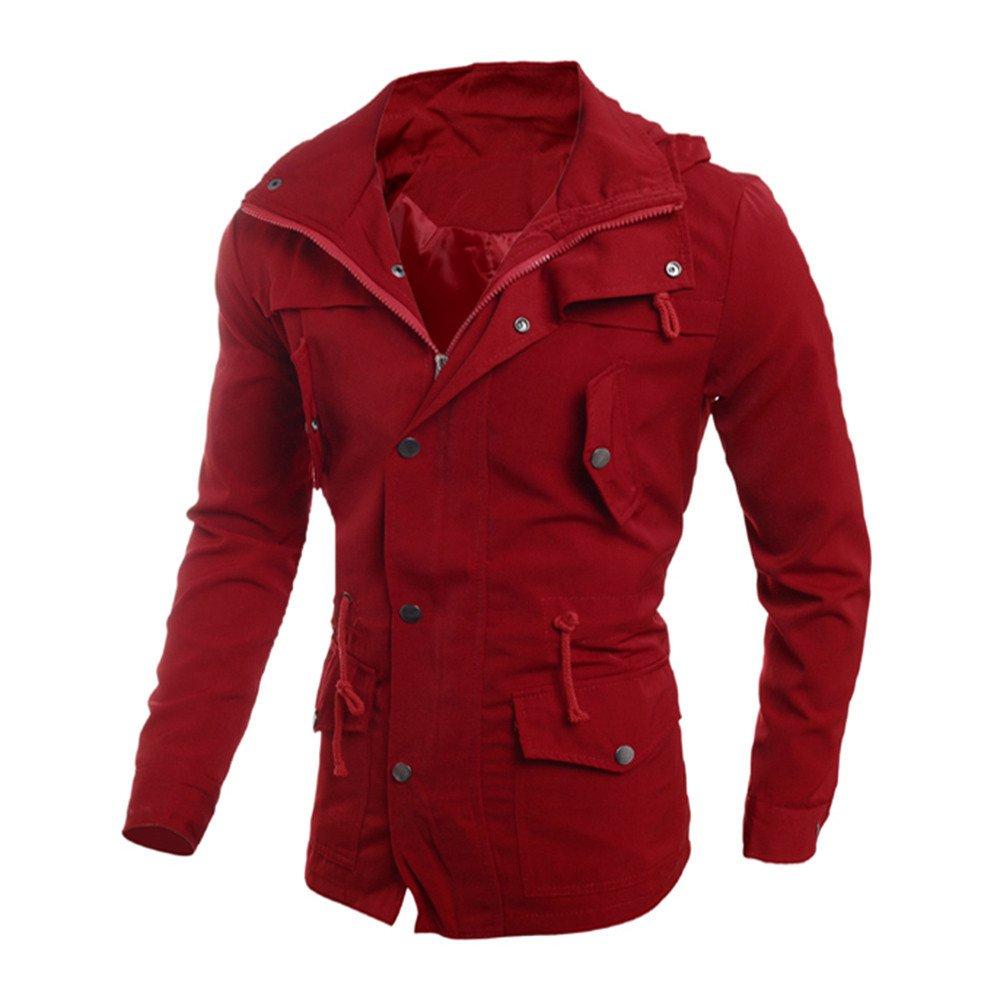 Gergeos Men Coat Fashion Slim Fit Pocket Jacket Outwear Overcoat(Red,XXL)