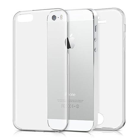 kwmobile Funda para Apple iPhone SE / 5 / 5S - Carcasa completa [360] de [silicona] para móvil - Cover doble [transparente]