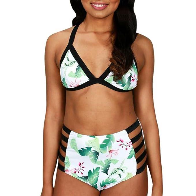 bd4376b52570 kingko Neu 2018 Damen Hoher Taille Bikini High Waist Badeanzug Mode mit  Damen Schwimmen Badeanzug Blumendruck