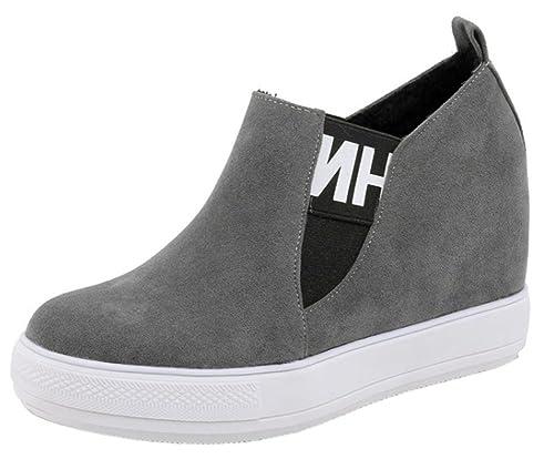 0a7eb673c343fd Easemax Femme Confortable Talon Compensé Bout Rond Sneakers: Amazon ...