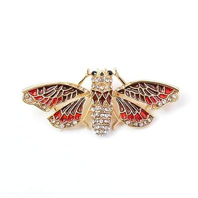 ZMHX Broche Rhinestone Moth Broches Para Las Mujeres Esmalte ...