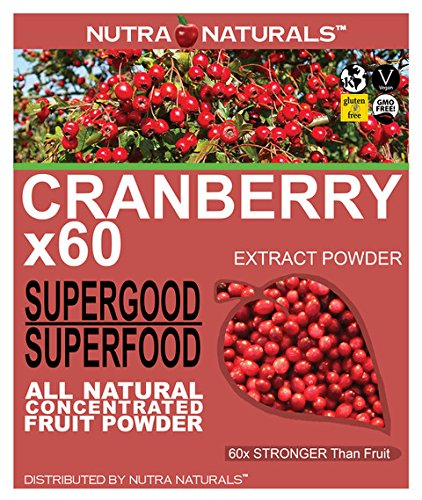 Nutra Naturals (TM) Pure Cranberry Powder Concentrated 60x Kidney Bladder UTI Support People Pets 8oz All Natural 16,000 mg. per Serving
