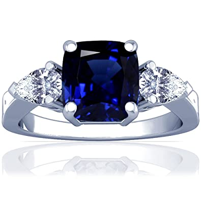 a305abb6bf1560 Image Unavailable. Image not available for. Color: 18K White Gold Cushion  Cut Blue Sapphire Three Stone Ring ...