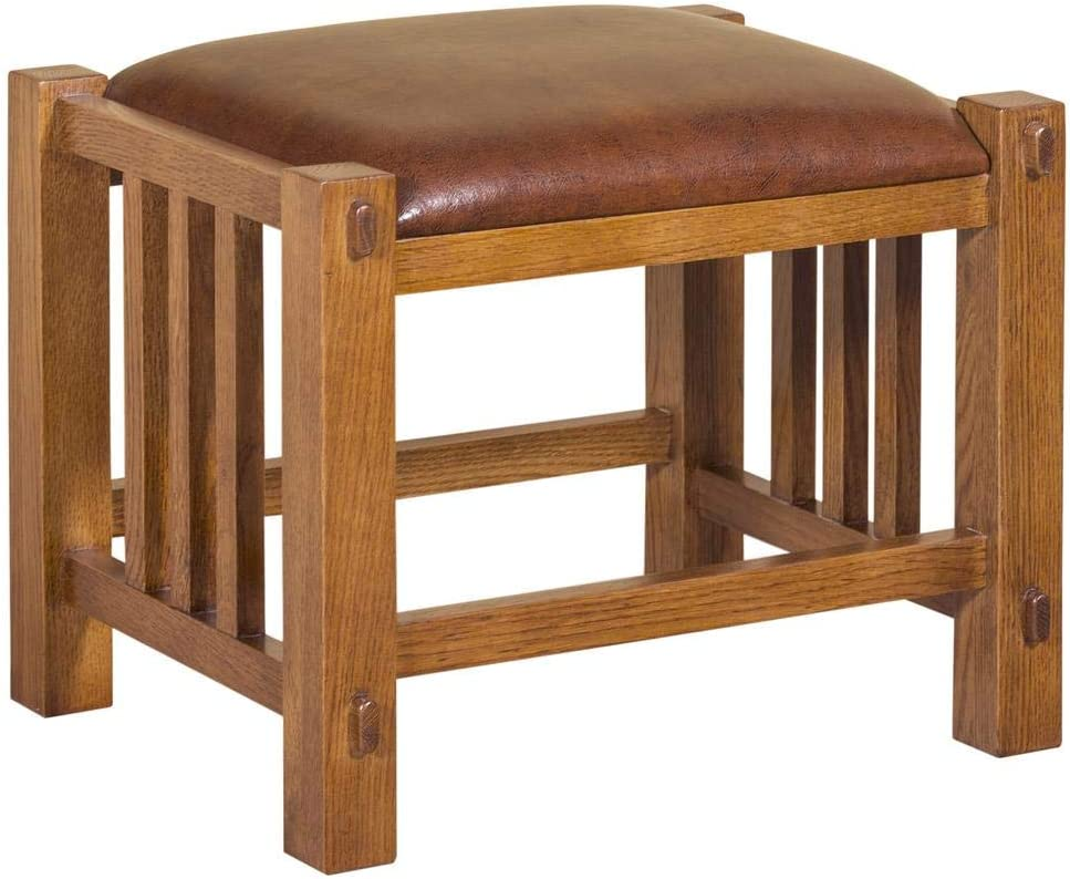 Crafters and Weavers Mission Spindle Stool - Quarter Sawn Oak & Leather