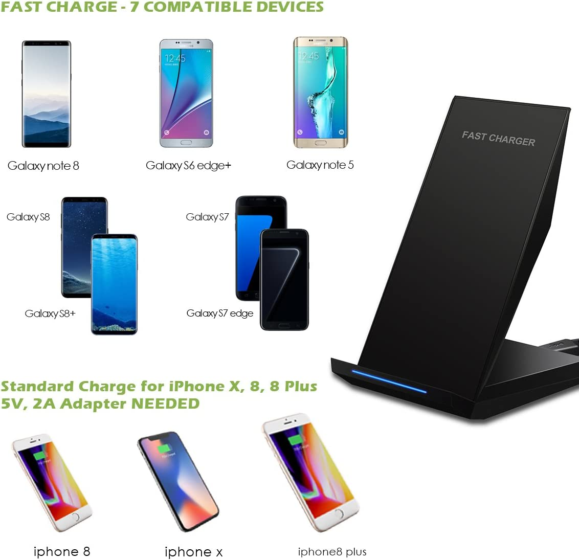 Standard Charger for iPhone X//8//8 Plus KeeKit Wireless Charger 2 Coils Qi Fast Wireless Charger Phone Quick Charging Stand for Samsung Galaxy S8 Plus//S8//Galaxy S7//S7 Edge//Note 5//S6 Edge Plus