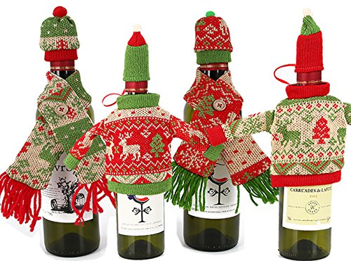 Lanyani 4 pcs Christmas Wine Bottle Cover Dress Bags Ugly Sweater and scarf with Hat Bottle Topper Holiday Wine Wrapping Xmas Home Party Decoration