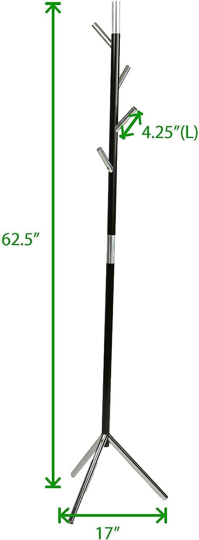 Mind Reader LEAFCR-BLK Free Standing Jacket Hat Black // Silver Coat Rack Hanger Umbrella Holder with 4 Hooks