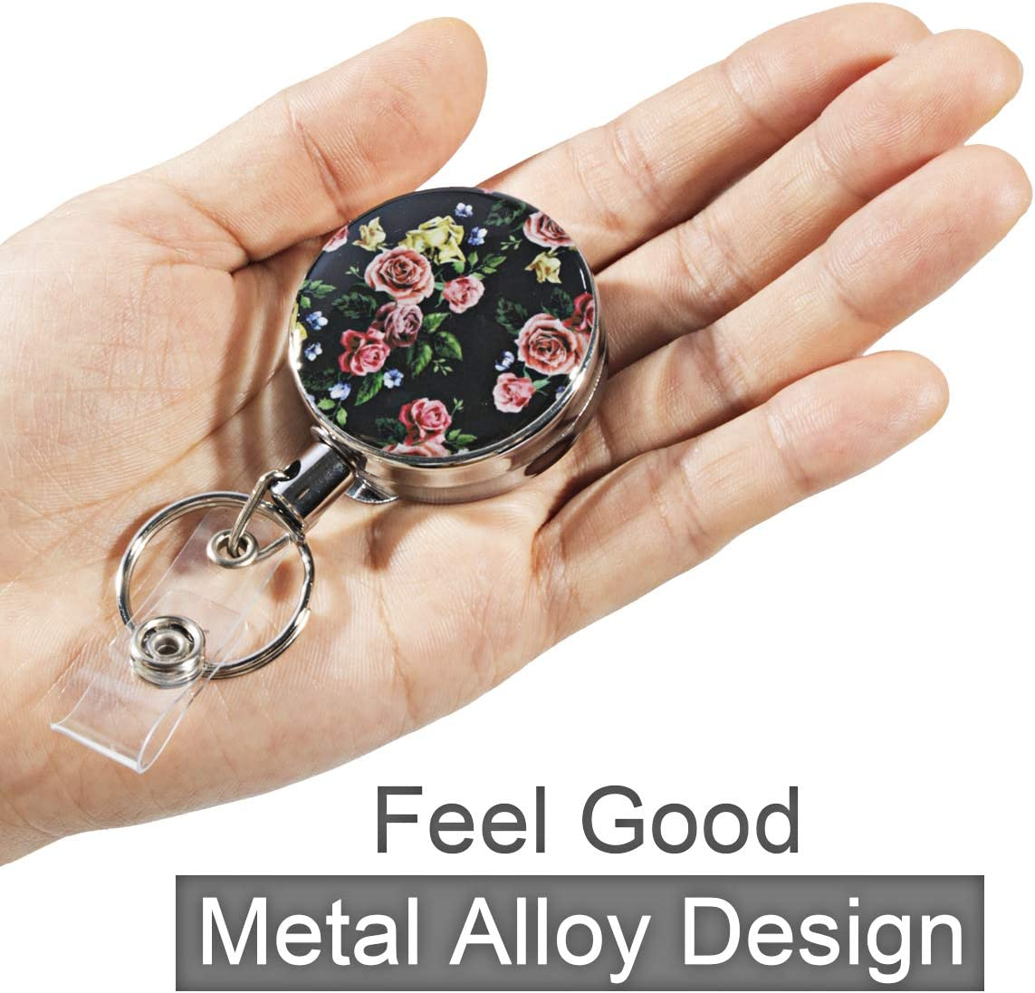All Metal Casing, 25 Steel Wire Cord, Reinforced Strap Printed Heavy Duty Retractable Badge Holder with Keychain Ring Clip Metal Badge Reel with Belt Clip Key Ring for Name Card Keychain