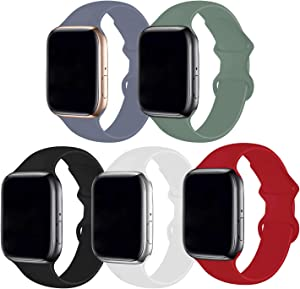Bifeiyo 5 Pack Compatible with Apple Watch Band 42mm 44mm ML,Soft Silicone Sport Replacement Straps Compatible for iWatch Series6/5/4/3/2/1/SE(Lavender Gray/Pine Green/Black/White/Red)