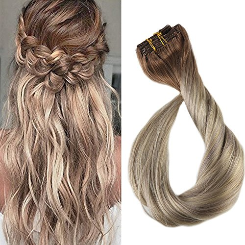 "Full Shine 24"" 7 Pcs 140 Gram Per Package Ombre Balayage Remy Clip-in Hair Extensions Best Hair Clip On Extensions Human Hair Colour 5 Fading to #20 and #24"