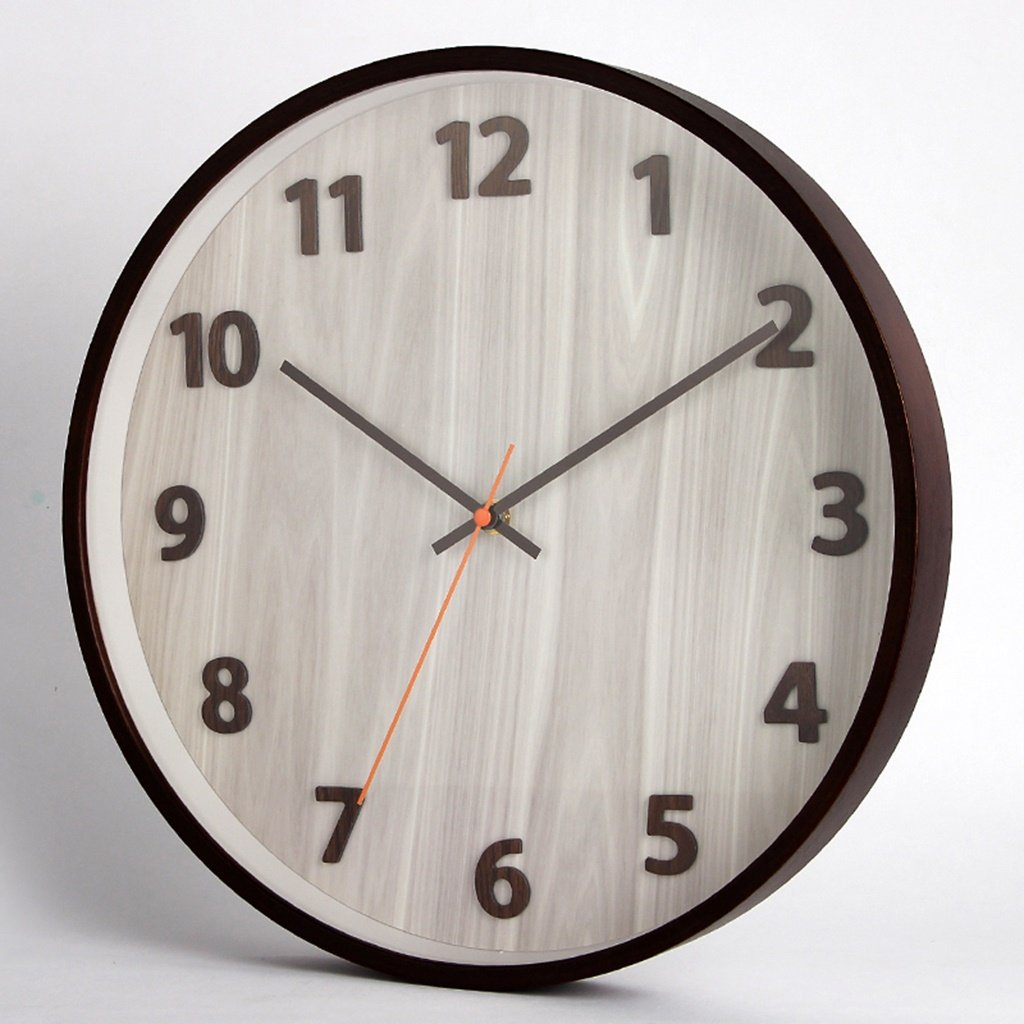 SESO UK- Design moderne Wanduhr Stumm Quarz Runde Uhren (14 Zoll/35,5 cm, 20 Zoll/50,5 cm) (Farbe : Light-colored pecans, größe : 20 inches)