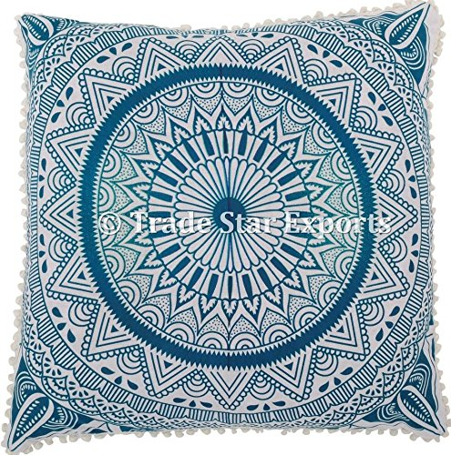 "Price comparison product image Trade Star Exports Euro Sham Pillow Cover with Pom Pom Lace Decorative Floor Cushion 26"" Ethnic Cotton Mandala Cushion Cover (Pattern 3)"
