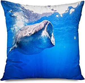 Onete Throw Pillow Cover Square 18x18 Inches Fish Whale Sharks Diving Swimming Blue Creature Gills Clear Waters Giant Isla Big Animals Wildlife Decorative Cushion Case Home Decor Zippered Pillowcase