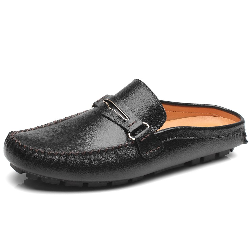 Jamron Men's Split Leather Penny Loafers Flat Heel ClogsΜles Household Leather Scuff Slippers Black SN19048 US11