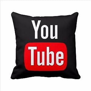 2 Sides YouTube pillow cover, YouTube pillow case, social media logo YouTube throw pillow cover pillowcase Square Zippered Pillowcase (16x16 inch, Black)