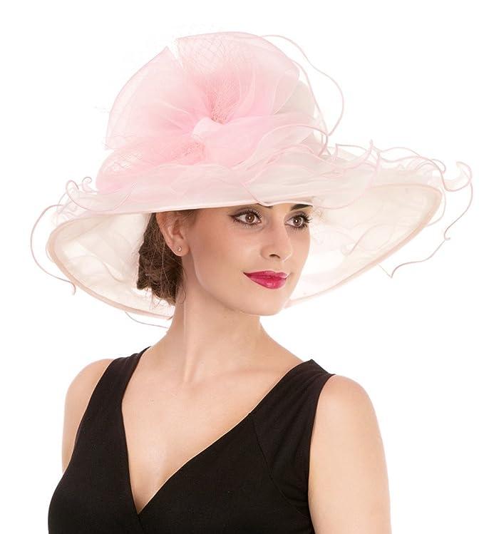 Sombrero de borde ancho con adorno floral para fiesta en la tarde.